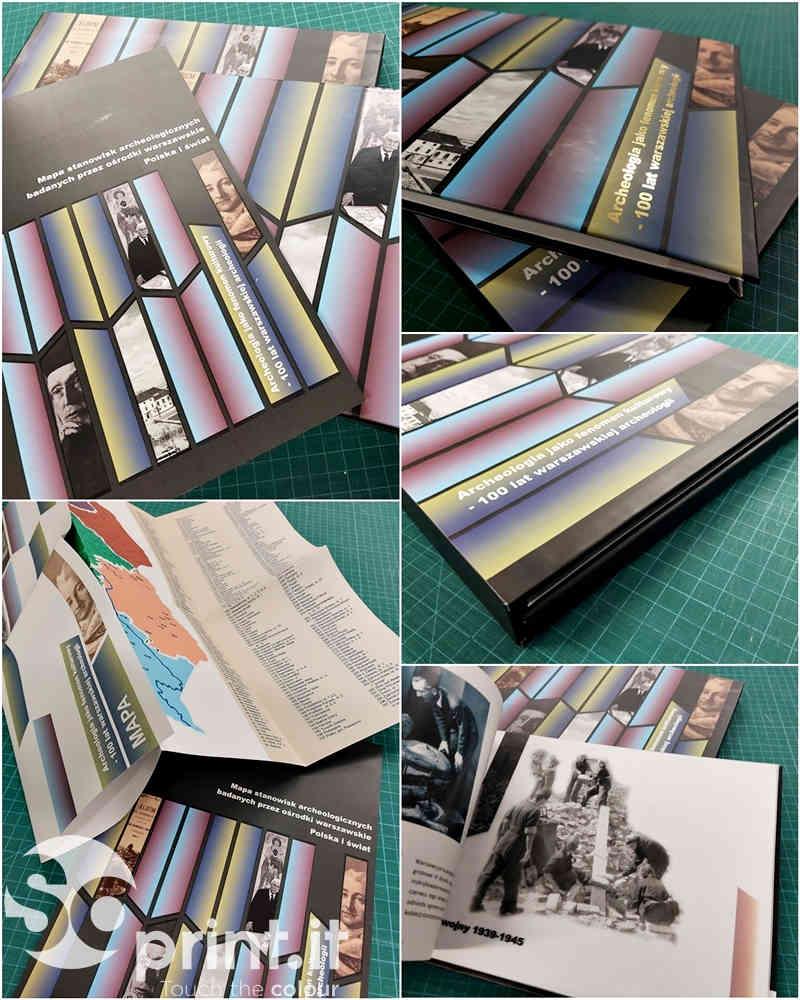 zestaw: książka (oprawa twarda ze złoceniem, wnętrze - papier kredowy + pergamin) w pudełku kartonowym, mapa dwustronna w opakowaniu papierowym